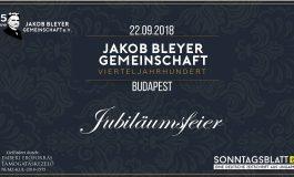 Jubiläumsfeier der Jakob Bleyer Gemeinschaft im September