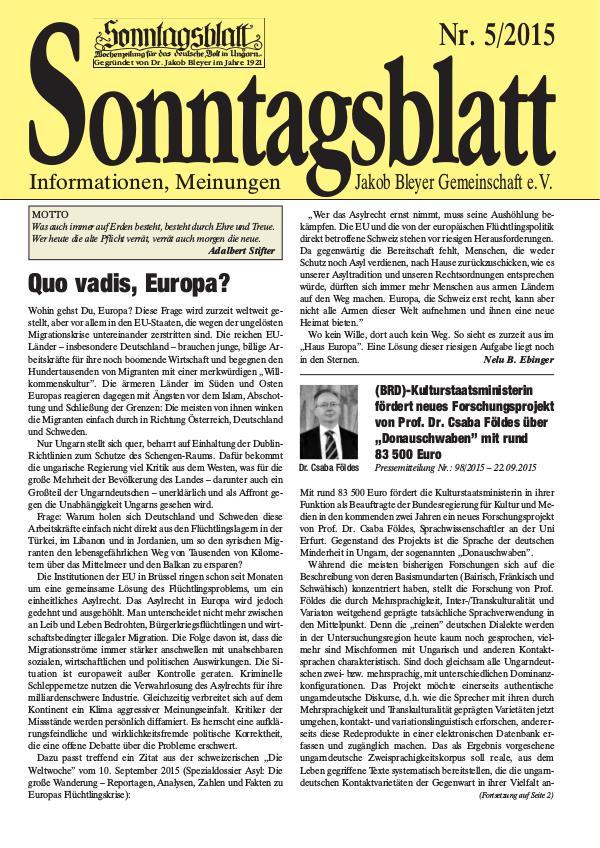 Sonntagsblatt 5/2015
