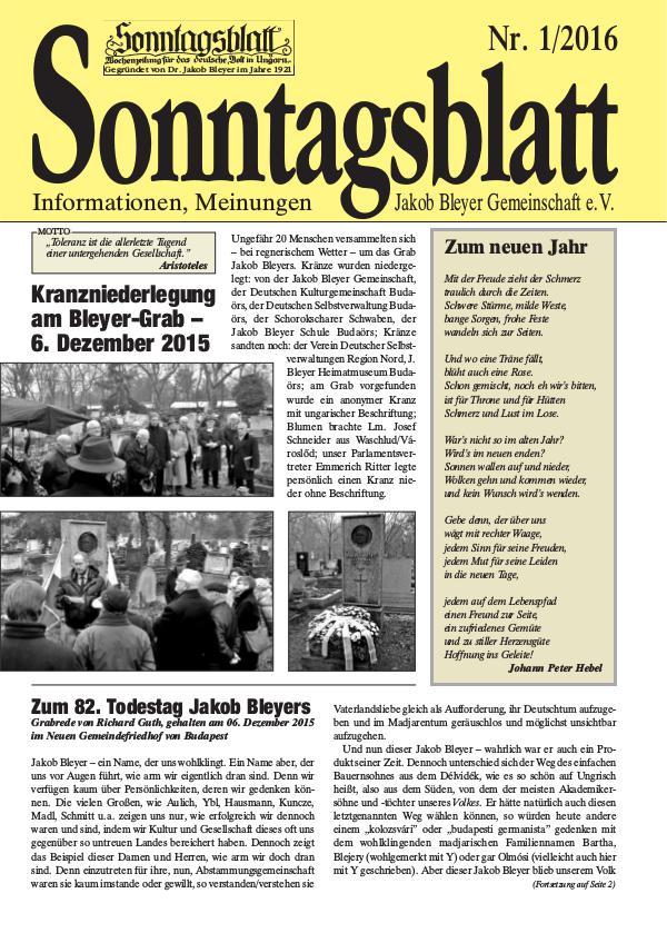 Sonntagsblatt 1/2016